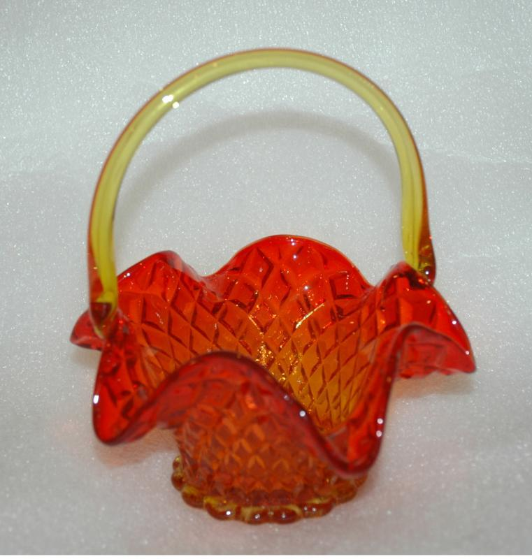 Fenton Amberina  Glass Ruffle Vintage Handled Basket with Diamond quilted design      Very elegant design.   Basket in excellent condition.  Size: H ~ 7 in Top ~ 5 in