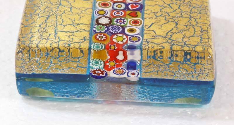 Murano Vetro Artistico Millefiore and Gold, Signed Square Art Glass Paperweight