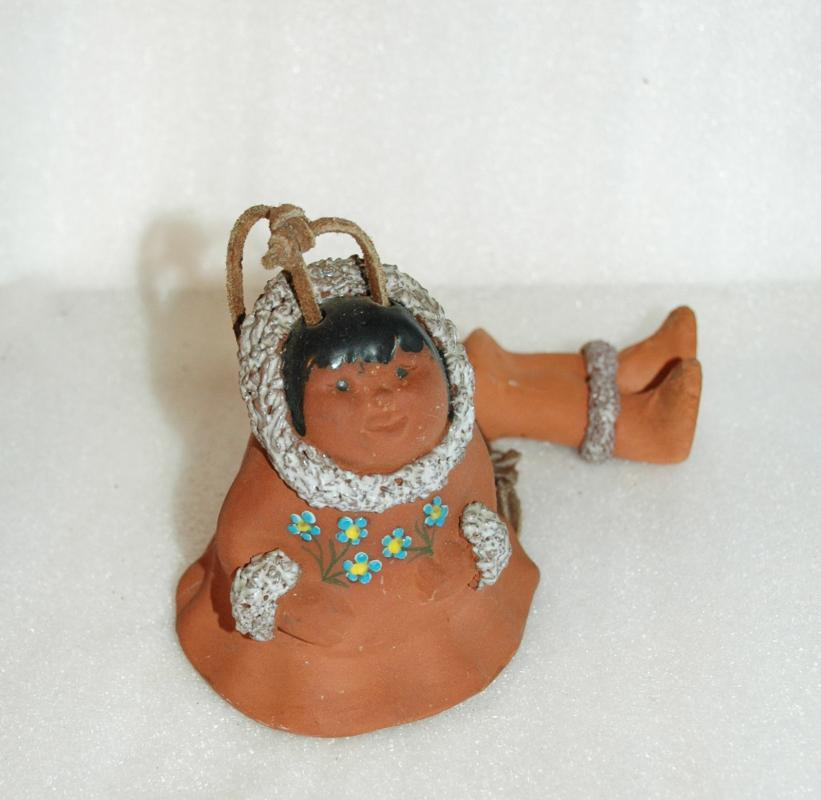Alaska Inuit Eskimo Clay Bell Wind Chime Handmade signed by Barbara Lee
