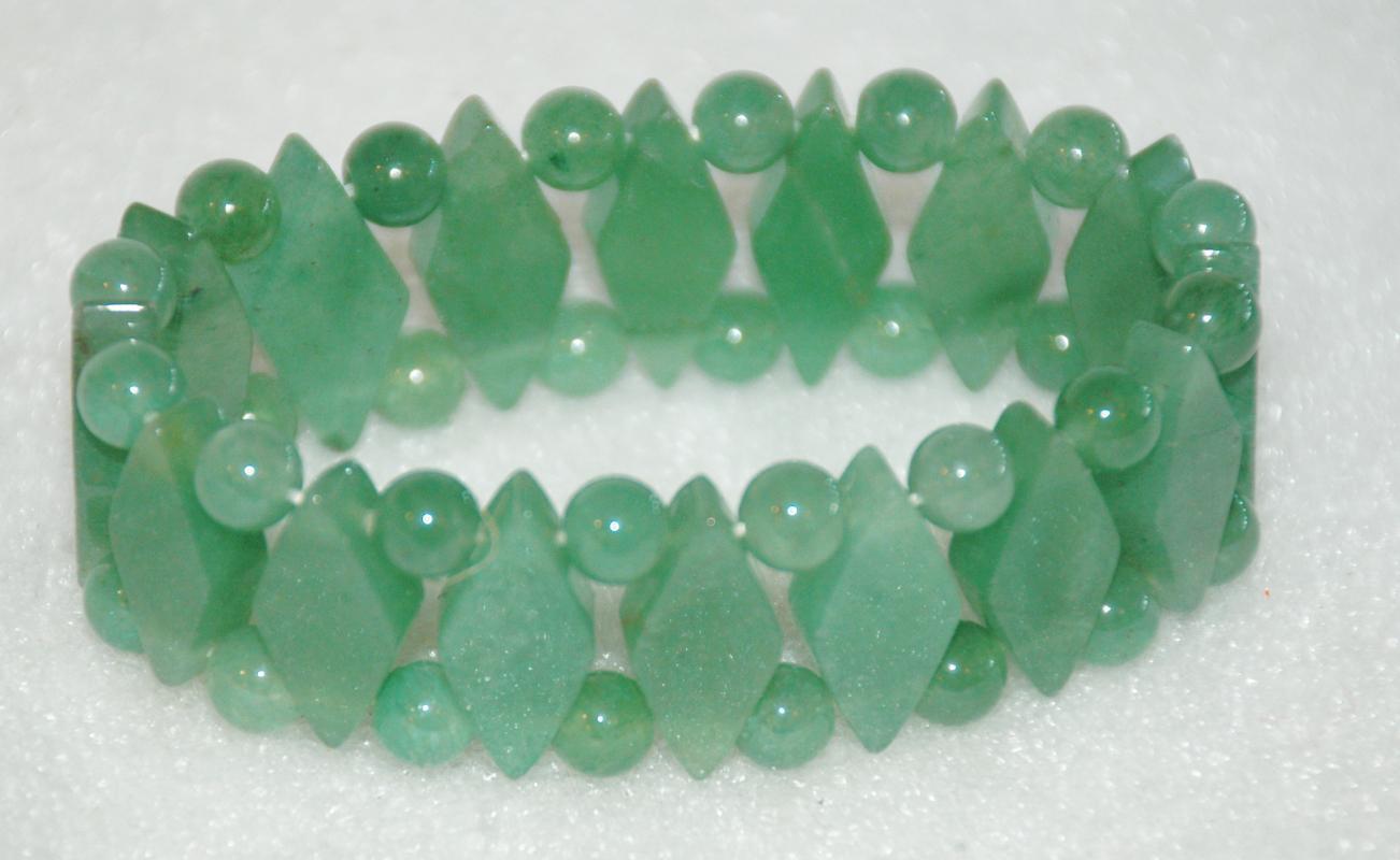 Natural Jade Green  Aventurine Diamond & Round Bead Bracelet Hand Crafted