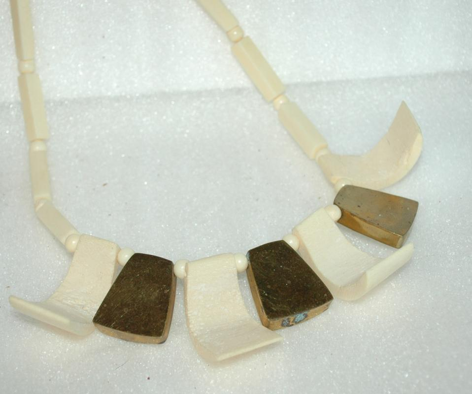 Carved Bone , Shell and Brass Choker Necklace  Ethnic  Tribal