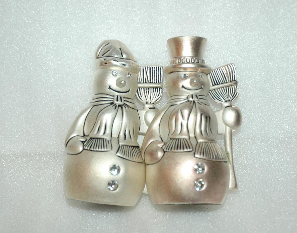 Vintage Godinger Silver Art snowmen Salt and Pepper shakers