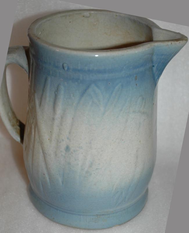 BLUE WHITE SALT GLAZE  STONEWARE PITCHER  CATTAILS  WESTERN STONEWARE CO MONMOUTH IL..