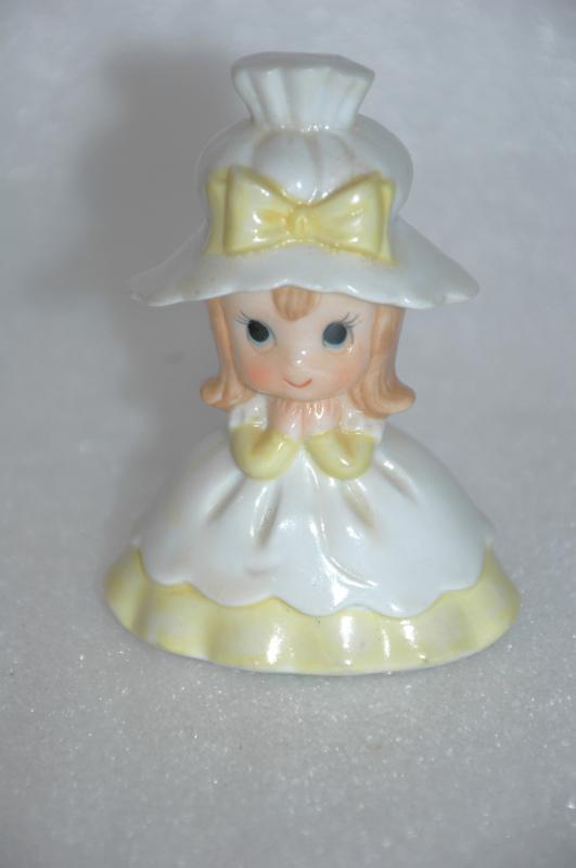 Hand Painted Porcelain Little Girl Bell, Holly Hobby Style dated  1979