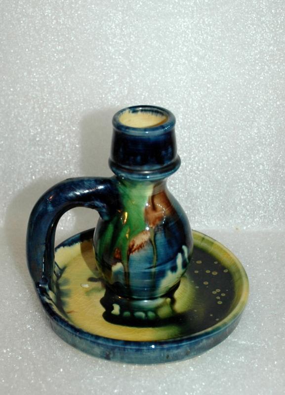 Colorful Drip Ware Candlestick from Belguim  labeled Kunstgalerij  Artisan  Popstaelstr. 45.  Varsenare  and sign C.J.M.