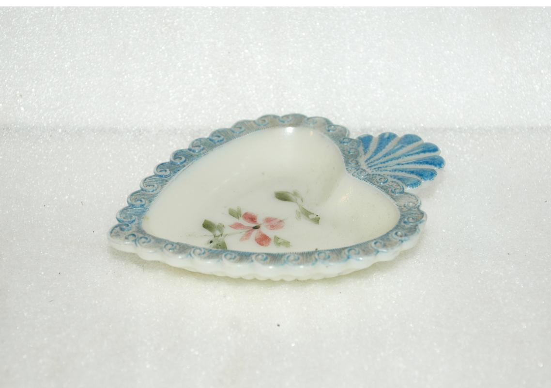 Hand Painted Milk Glass Heart Trinket Dish