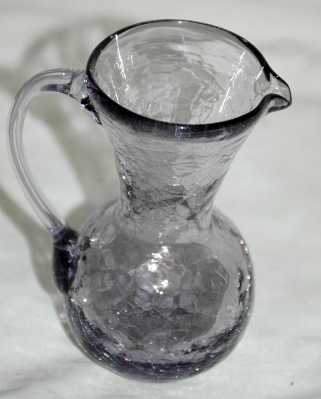 Miniature Smoke Crackle Glass Pitcher , Pilgrim Glass