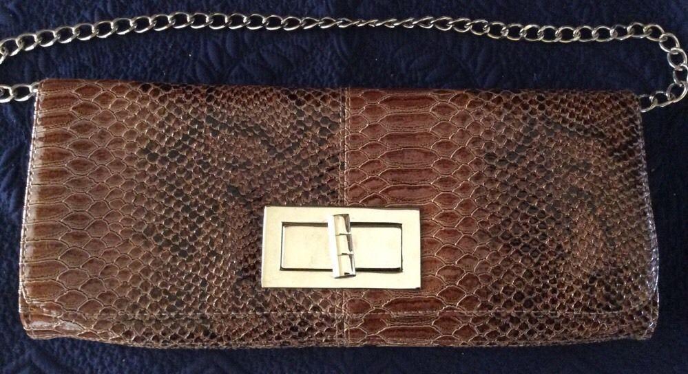 Lulu Townsend Moc Croc Faux Leather Clutch Purse with Shoulder Chain