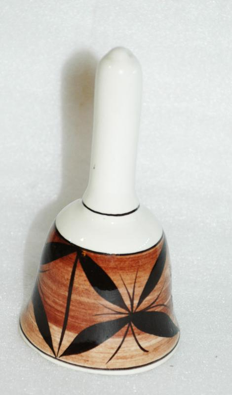 Vintage Beautiful Hawaiian Pohaku Kiln Ceramic Collector Bell Hawaii Tapa Cloth Motif