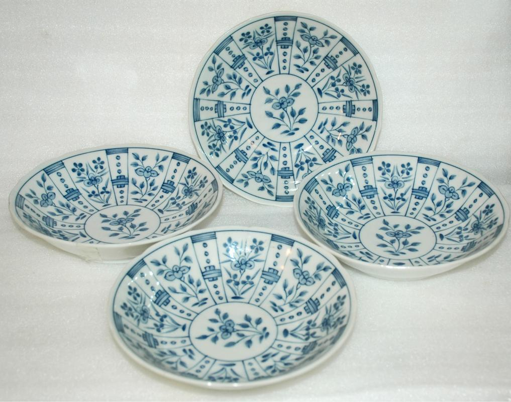 4 Blue & White Porcelain Modern Japanese Bowls signed and marked    TACHIKICHI CORP