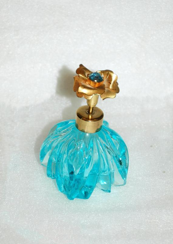 Vintage I Rice Perfume Bottle Aqua Glass with Blue Stone Gold Flower Top