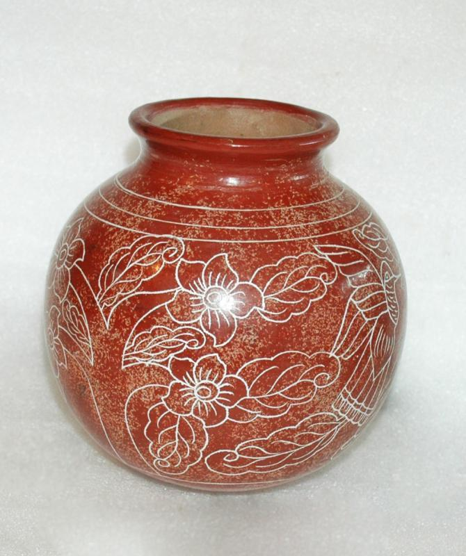 Native American Sgraffito Pottery Round Bottom Pot with Flowers and Hummingbirds