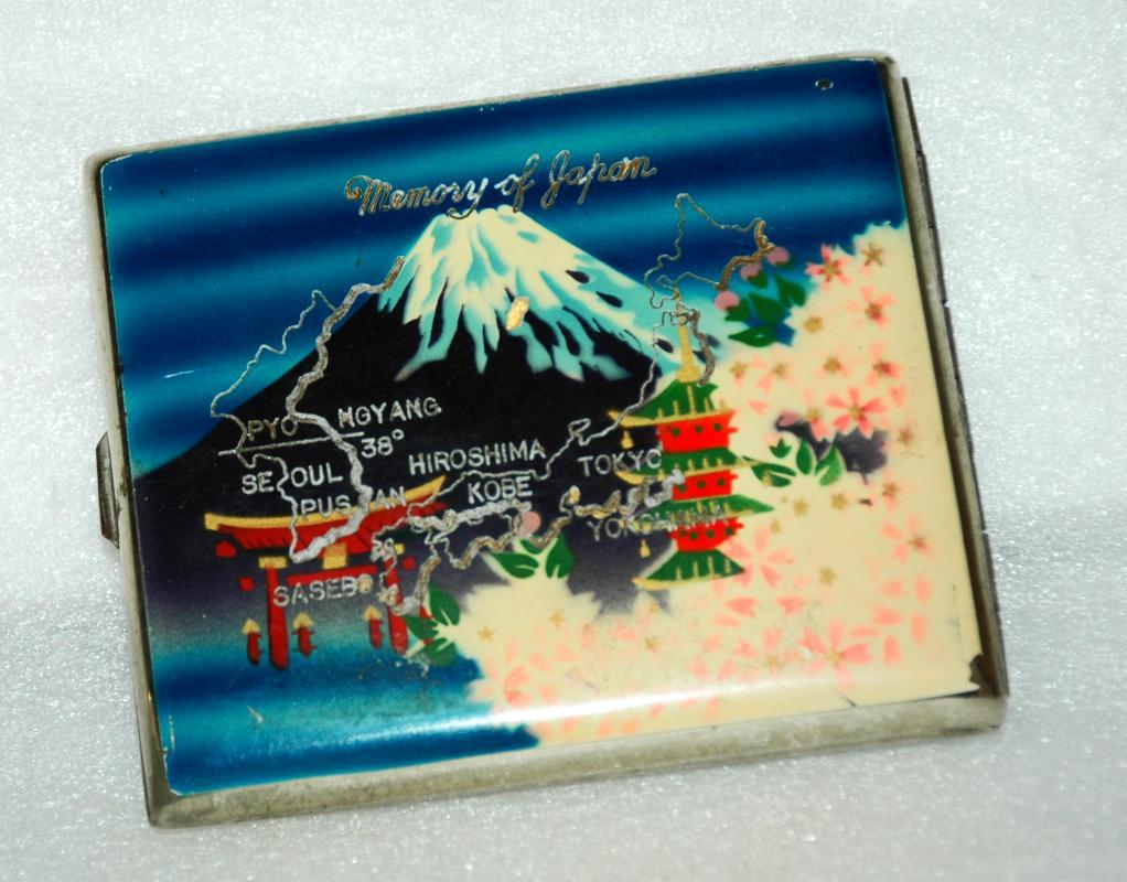 Vintage Memory Of Japan Enamel Post WWII Cigarette Case with Mt Fuji and Map