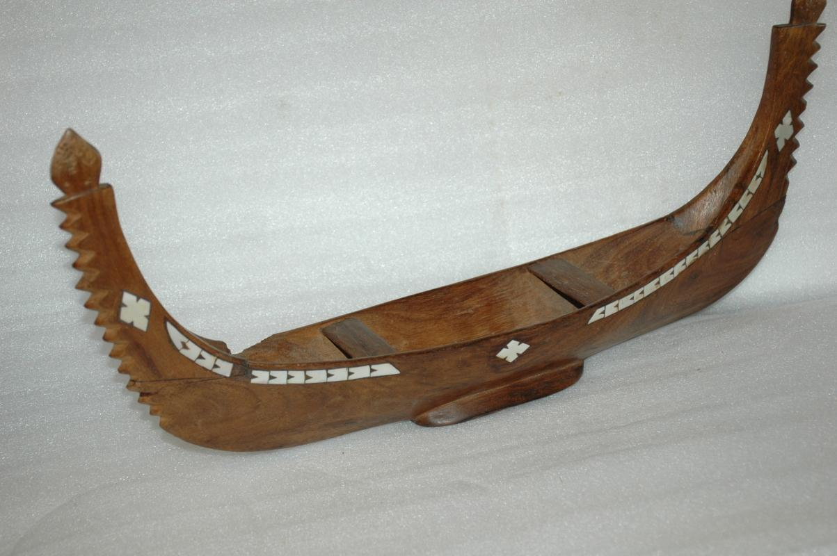 Hand Carved Samoan War Canoe with Mother of Pearl Inlay