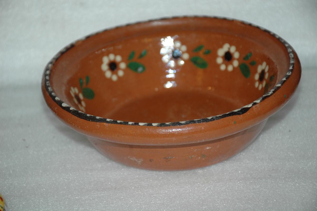 Old 1940s Puntillado Tlaquepaque Mexican Clay Pottery Bowl