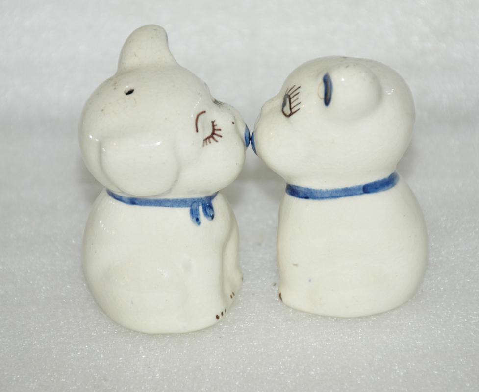 Vintage White Kissing  Puppy Salt Pepper Shakers