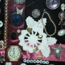 Art Collage of Framed Vintage Jewelry, Watch, Buttons and More Entitled