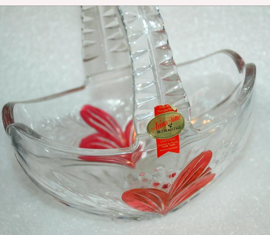 Anna Hutte Bleikristall 24% lead crystal basket with Cut to Clear Ruby Flash