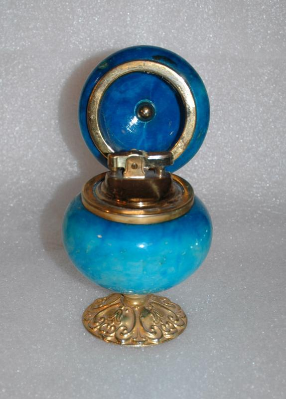 VINTAGE GENUINE ALABASTER Blue Dyed  HAND CARVED TABLE LIGHTER MADE IN ITALY