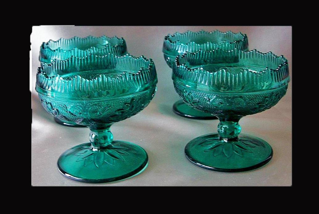 4 Four Tiara Sandwich Spruce  Sherbets Indiana Glass