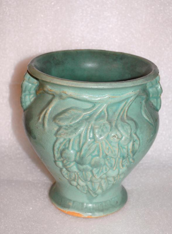 ARTS CRAFTS NELSON MCCOY CHERRIES 2 HANDLE VASE  AQUA MATTE  Stoneware Pottery