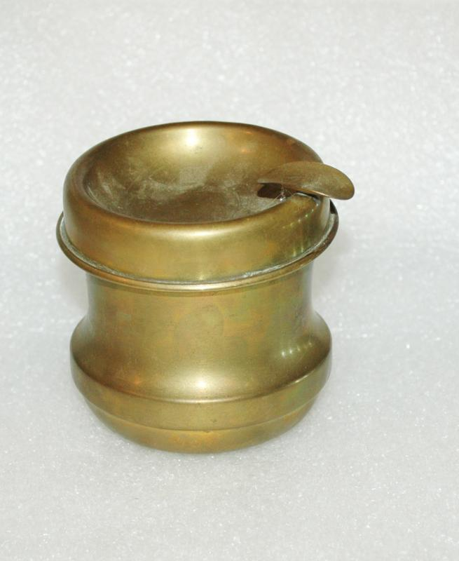 Vintage Brass Ashtray Portable with Receptacle Trench Art?