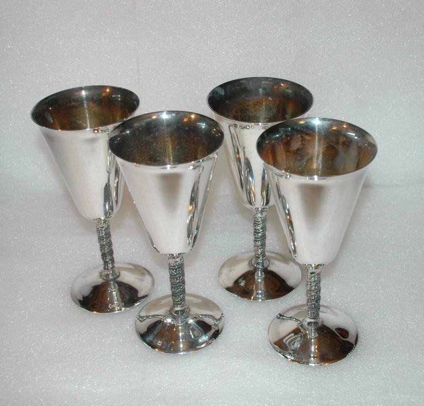 4 ANTIQUE SILVER  WINE GOBLETS 7