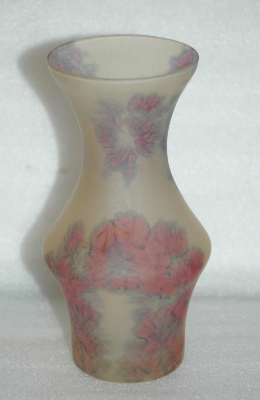 Kera Suchit Hand Reverse Painted Frosted Glass  Vehud Israel Vase