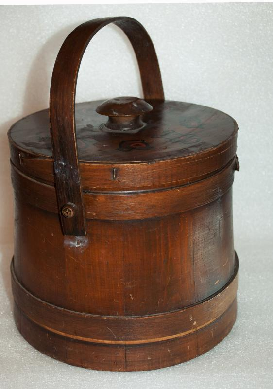 VINTAGE BENT WOOD FIRKEN COOKIE JAR  with LID NICE DARK PATINA