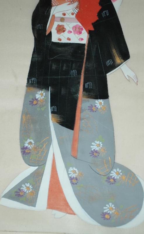 Japanese Silk Painting  Bejin Geisha , Signed.   21.5