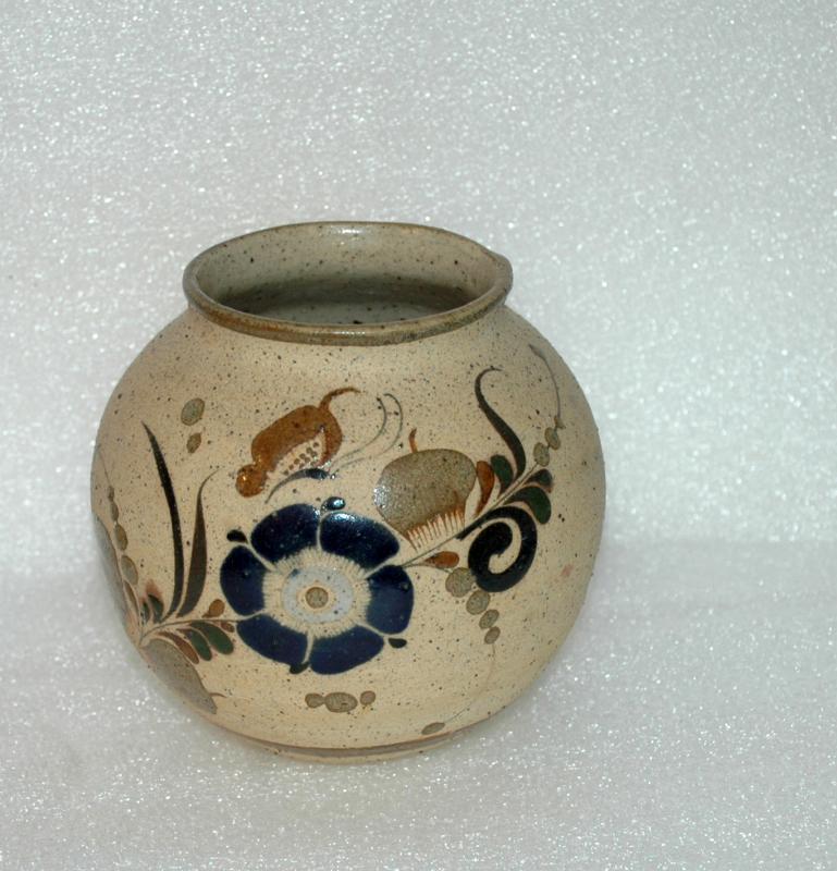 Mexican Tonala  Enamel Pottery Pot  Vase Cobalt Blue Flower