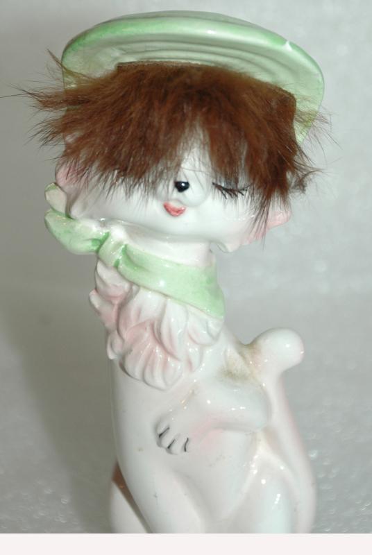 Tall Ceramic Kitty Cat Lipstick Holder with Tuft of Fur