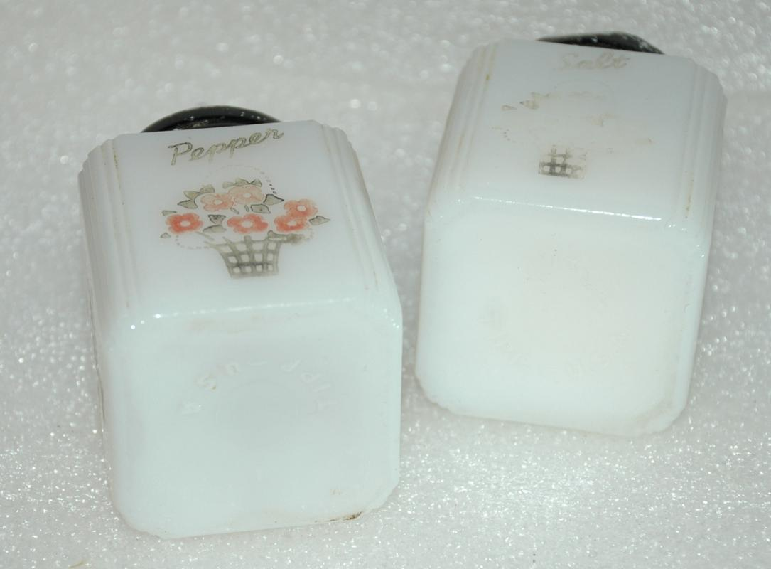 McKee Glass Stove Top Salt Pepper Shakers with Flower Basket Design Art Deco