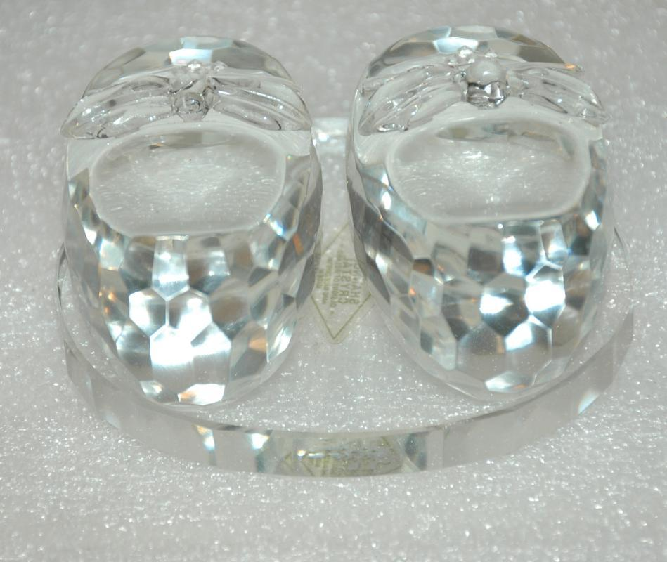 Shannon Crystal Irish  Cut  Crystal Paperweight  Baby  Booties Shoes with Rhinestones