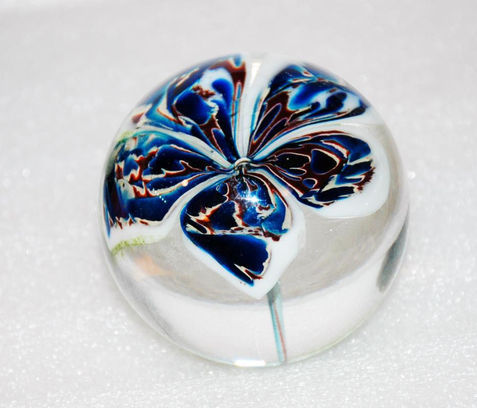 Large Flower Blown Art Glass Paperweight, Clear with Blue, White Brown Flower Pedals and Green Stem High Quality