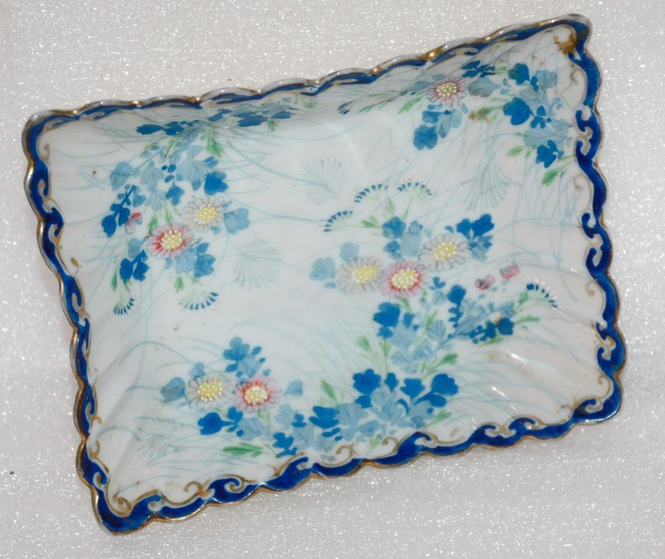 Nippon Rectangular Nut or Mint Dish with Scalloped  Cobalt  Gold  Rim Moriage Delicate Flowers