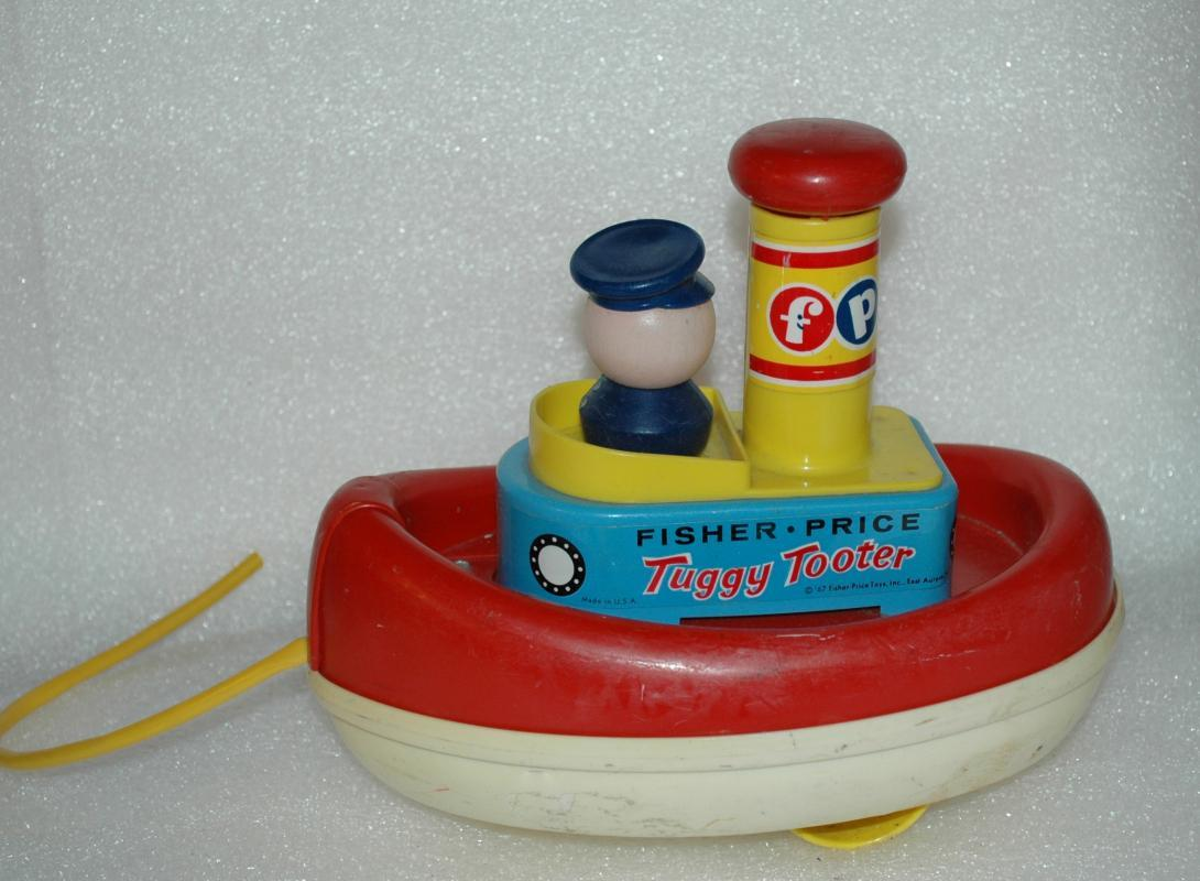 VINTAGE 1960s FISHER PRICE TUGGY TOOTER PULL ALONG BOAT