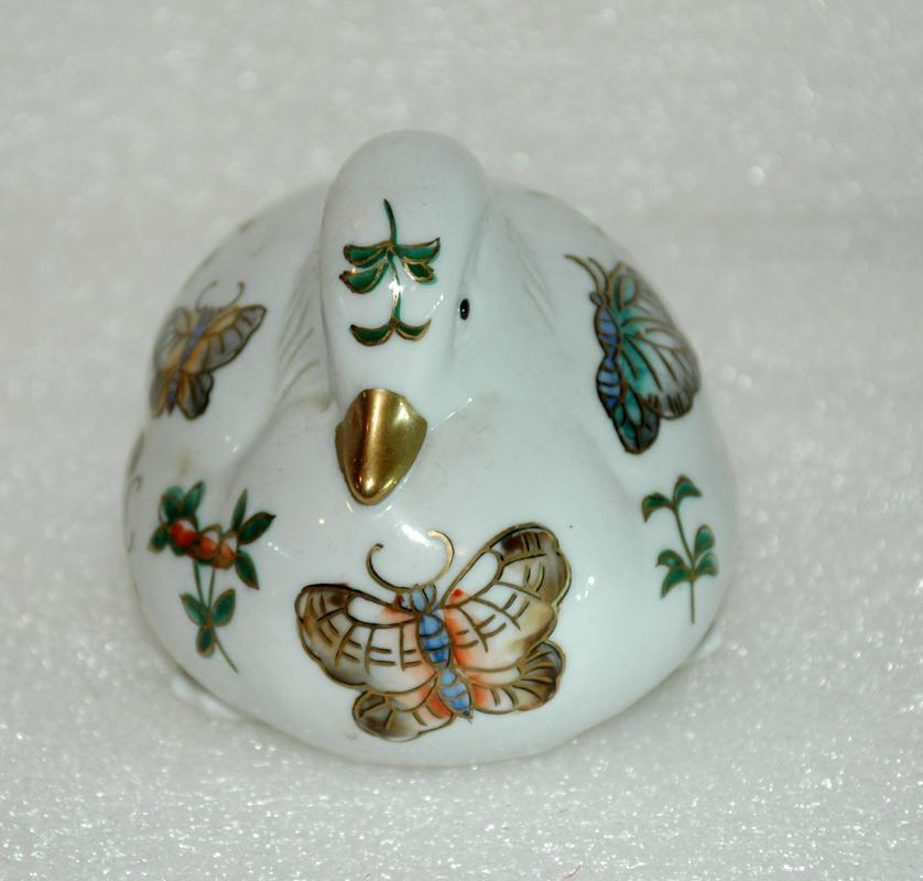 Chinese Porcelain Sitting Duck, Hand Painted with Butterflies and Gold Trim