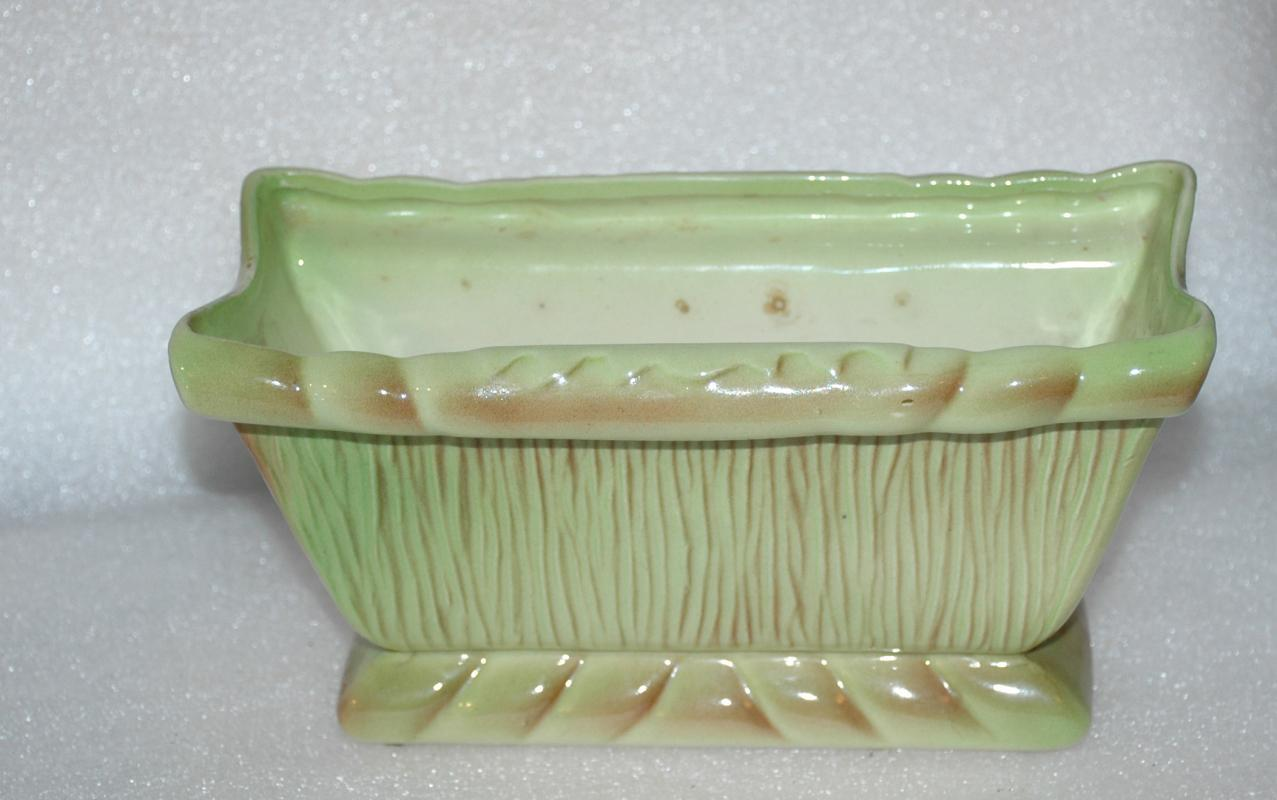 Stewart B.  McCulloch Pottery Planter   Green Brown   Retro Mid-Century