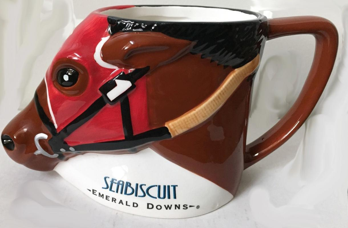 Two  Seabiscuit Emerald Downs 2003 Limited Edition Derby Horse Mug Mugs x 2