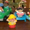8 pc Set Fisher Price Little People with Scooter, Car and Cart