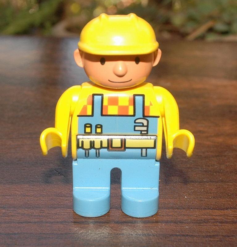 Lego Construction Worker with Yellow Hard Hat  2.5