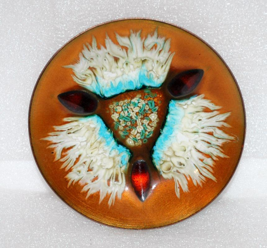 Vintage Enamel On Copper Edwards Star For Gump/'s Bowl Dish Plate Mid-Century