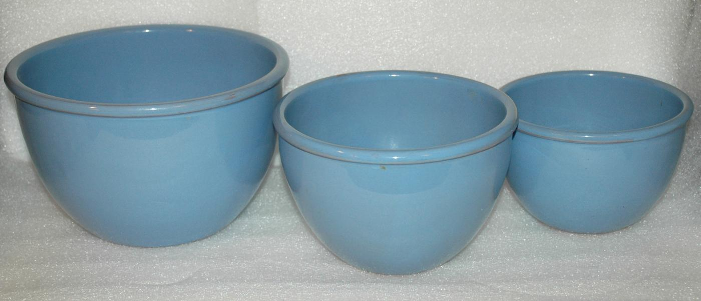 Set of 3 Nesting Blue Mixing Bowls Blue Glaze over Redware Pottery Clay