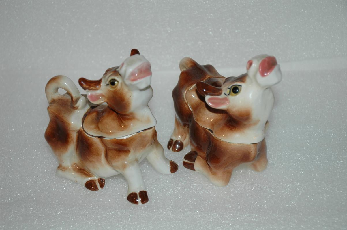 Old  RELCO COW SALT & PEPPER SHAKERS & CREAMER & SUGAR BOWL BODIES