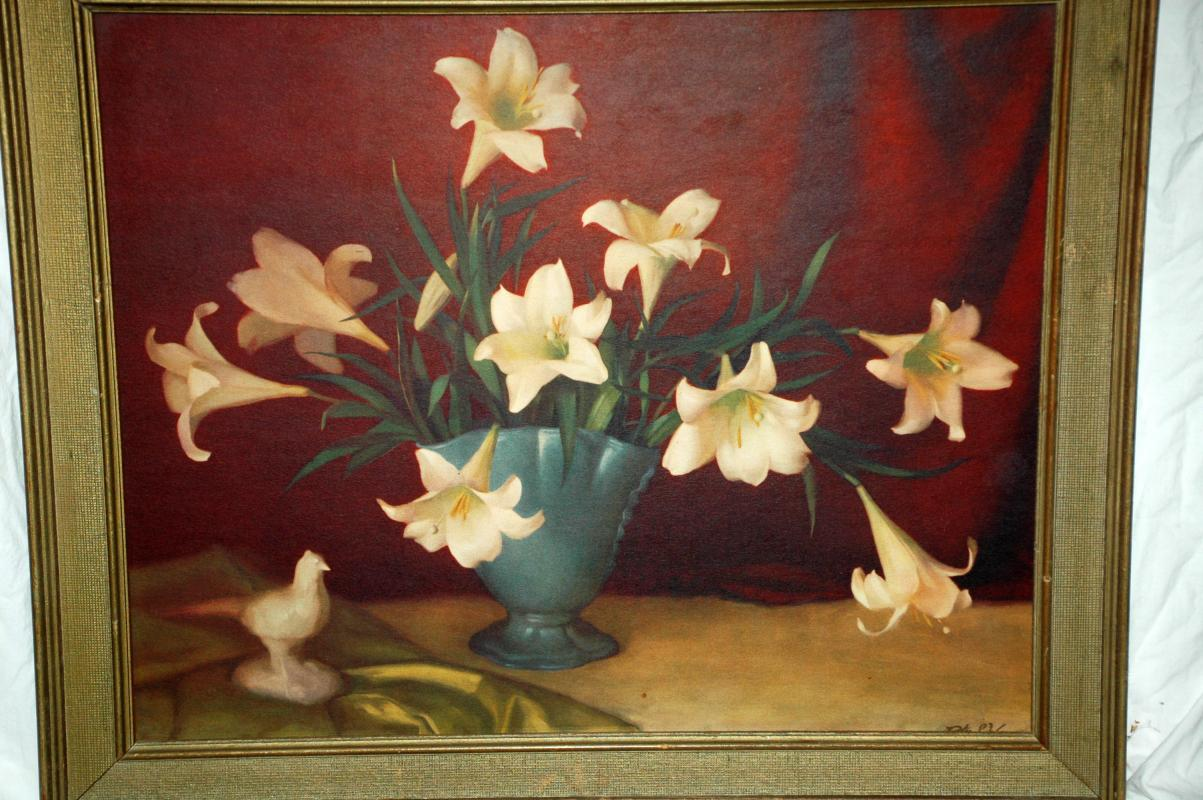 Floral Still Life Lilies in Vase by Peter S. Wayne / Framed Lithograph
