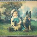 Antique Boy & Dog Print Signed & Numbered