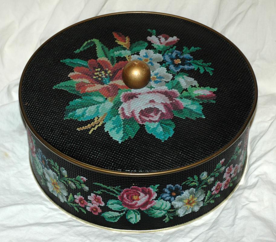 Vintage Guildcraft Tin, Needlepoint Tin, Roses, Sewing Notion Tin