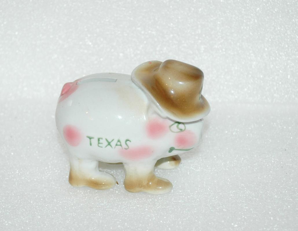 Texas Piggy Dime Bank  Pig Wearing Cowboy Hat Vintage Porcelain  Souvenir