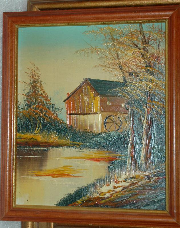 Oil on Board Watermill River Scene / Textured Paint